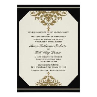Ivory Black and Gold Damask Wedding Invitation
