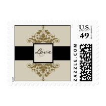 Ivory Black and Gold Damask Wedding Love Stamp