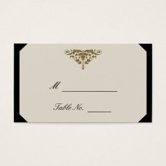 Ivory Black and Gold Damask Wedding Place Cards