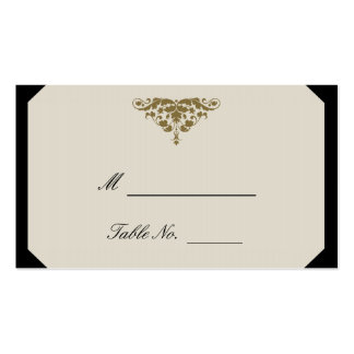 Ivory Black and Gold Damask Wedding Place Cards Double-Sided Standard Business Cards (Pack Of 100)