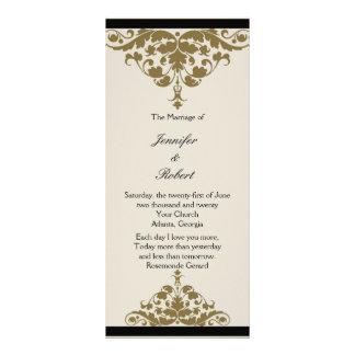 Ivory Black and Gold Damask Wedding Program Personalized Rack Card