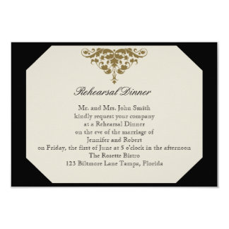 Ivory Black and Gold Damask Wedding Rehearsal Card