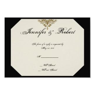 Ivory Black and Gold Damask Wedding Response Card