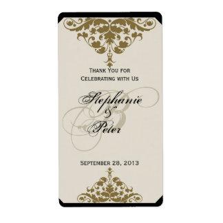 Ivory Black and Gold Damask Wedding Wine Label