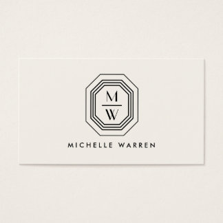 Ivory/Black Art Deco Monogram Beauty Business Card