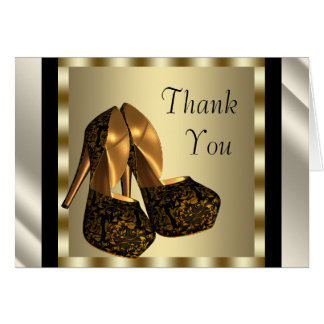 Ivory black Gold High Heel Shoes Thank You Cards