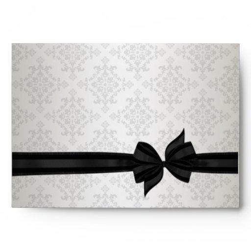 Ivory Black Tie Damask Wedding Invitations Envelopes
