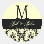 Ivory Black Wedding Monogram Save Date Damask Seal Stickers