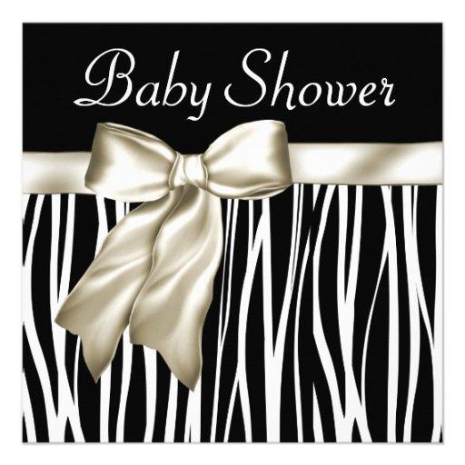Ivory Black Zebra Baby Shower Invitations