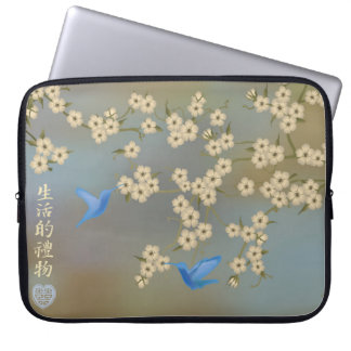 """Ivory blossom blue birds """"Gift of life"""" Computer Sleeve"""