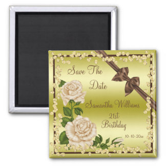 Ivory Blossom, Bows & Diamonds 21st Save The Date Magnet