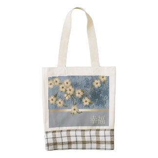"""Ivory blossom grunge blue """"Happiness"""" tote bag"""