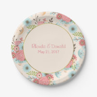 Ivory, Blue and Coral Floral Wedding Paper Plate
