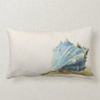 Ivory Blue Beach House Vintage Seashell Lumbar Pillow
