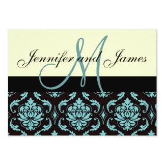 """Ivory Blue Damask Wedding Invitation with Monogram 5"""" X 7"""" Invitation Card"""