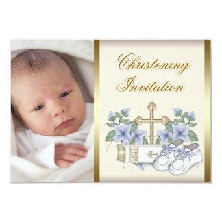 Ivory Blue Gold Baby Boy Photo Christening Invitat Card