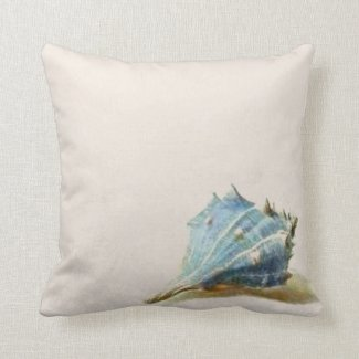 Ivory Blue Vintage Seashell Beach House Pillow