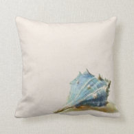 Ivory Blue Vintage Seashell Beach House Throw Pillow
