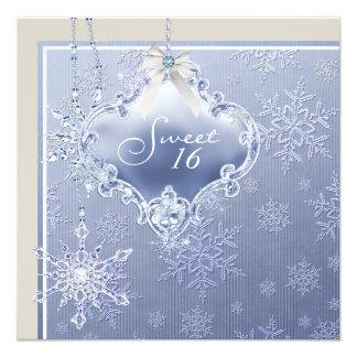 Ivory Blue White Snowflake Sweet Sixteen Birthday Card