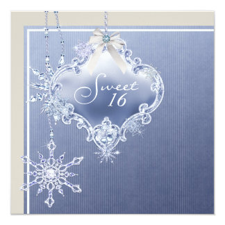 Ivory Blue White Snowflake Sweet Sixteen Birthday 5.25x5.25 Square Paper Invitation Card