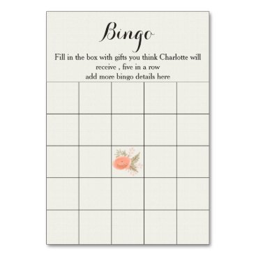 ivory blush gold floral bridal shower bingo cards