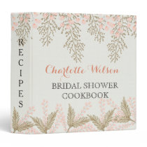 ivory blush gold floral bridal shower recipe book binder