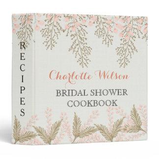 ivory blush gold floral bridal shower recipe book binder