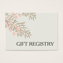 ivory blush gold floral gift registry business card