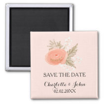 ivory blush gold floral save the Date Magnet