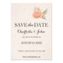ivory blush gold floral save the dates card