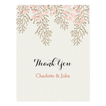 ivory blush gold floral Thank You notes