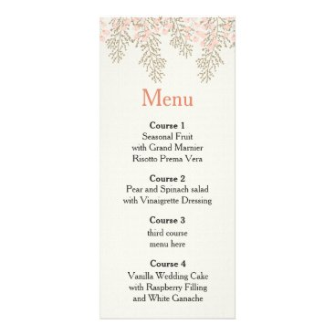 ivory blush gold floral wedding menu