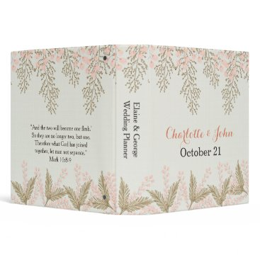 ivory blush gold floral wedding planner binder