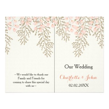 ivory blush gold floral wedding program
