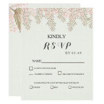 ivory blush gold floral wedding RSVP cards