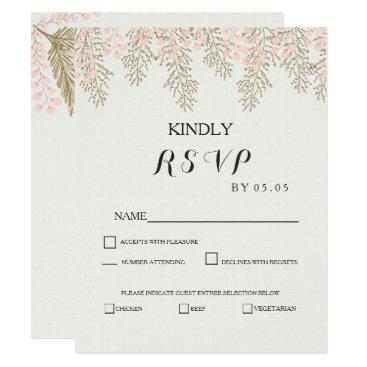 ivory blush gold floral wedding RSVP cards