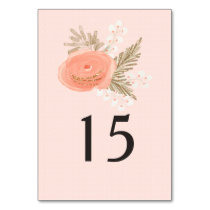 ivory blush gold floral wedding table number card