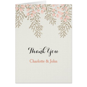 ivory blush gold floral wedding Thank You Card