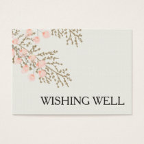 ivory blush gold floral wishing well business card