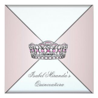 Ivory Blush Tiara Classy Quinceanera 15th Party Card