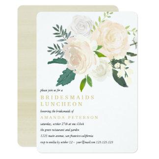 Ivory Bouquet Floral  Bridesmaids Luncheon Wedding Invitation