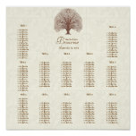 Ivory Brown Floral Pattern Tree Seating 12 Tables Poster