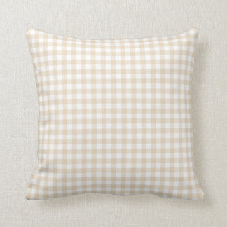 Ivory Brown Gingham Pattern Throw Pillow