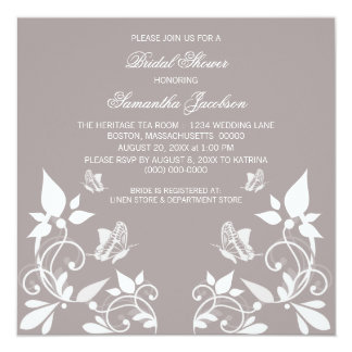 Ivory Butterfly Floral Bridal Shower Invite
