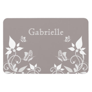 Ivory Butterfly Floral Premium Magnet