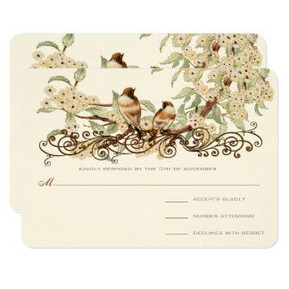 Ivory Cherry Blossom Vintage Love Birds Wedding Card
