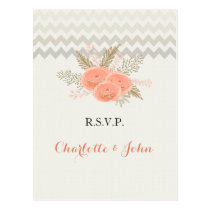 ivory chevron blush gold floral wedding rsvp postcard
