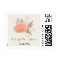 ivory chevron blush gold floral wedding stamps