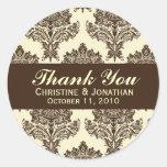 Ivory & Chocolate Damask Round Wedding Labels Round Stickers