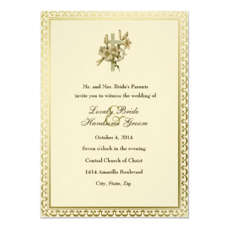 Ivory Christian Cross Lilies Wedding Invitation